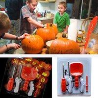 ingrosso kit per adulti-Halloween Zucca Carving Kit FAI DA TE Per Bambini Bambini Bambini Zucca Lanterna Intaglio Giocattolo Coltello Set Strumenti Regali di Natale 5 Pz / lotto HH7-1465