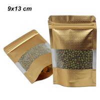 Wholesale poly foil bags online - 9x13 cm Gold Stand Up Embossed Aluminum Foil Zip Lock Packaging Bags Resealable Poly Window Mylar Foil Food Storage Pouch for Dry Nuts Beans