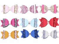 Wholesale valentine hair online - 10 style Fashion Double bow Bling bow Hairclips Girls Baby Girl Hair Bows Sequin leather Bows Valentine Bows Hair Accessories H100