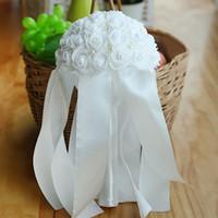 Wholesale artificial pearl flower for sale - 25 cm Wedding Flowers Crystal Bridal Bouquets Artificial Pearls Wedding Bouquets De Mariage Rose Cheap
