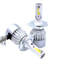 Wholesale H1 Cob Led - Edison2011 2PCS Auto Head Lamp Lights LED C6 H1 H3 H4 H7 9006 COB auto front fog light bulb 7200LM 9V-36V 6000K Headlight