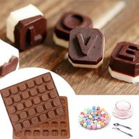 Wholesale Candy Cake Letters - 26 English Letters Alphabet Chocolate Silicone Mold Candy Ice Cubes Mould Pastry Soap Molds Fondant Cake DIY Baking Tools