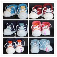 Wholesale baby crochet shoes sneakers - Handmade Baby Girls Boys Crochet Sneaker Booties Infant Knitted Sport Shoes Soft Sole Indoor Casual Shoes Cotton