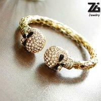 ingrosso catena di collegamento del cranio-ZG Unisex Cool Punk Rock Gotico Skull Hand Glove Chain Link Wristband Braccialetto in pelle braccialetto