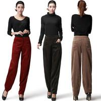calças de veludo de corda venda por atacado-Novas Mulheres Outono Inverno Calças De Veludo De Cintura Alta Largura Perna Calças Calças De Veludo Grande Yard
