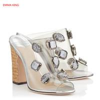 6f65181a 2018 nuevas mujeres de goma transparente sandalias de mula zapatillas de  diapositivas diseñador de tacón de paja tacones altos moda de verano claro  zapatos ...