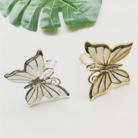 Wholesale butterfly napkin holders online - Butterfly Napkin Holder Napkin Ring Butterfly Silver Gold Napkin Ring Wedding Party Banquet Table Decoration