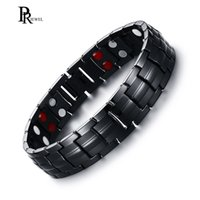мужские браслеты оптовых-100% Titanium Black Bracelets for Men Bio Energy Magnetic Health Jewelry Boyfriend Christmas Gift drop shipping