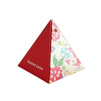 Wholesale sweet love favor box - New 50pcs Creative Triangular Shaped Wedding Favor Box Gift Box Sweet Love Candy Event and Party Supplies Decoration