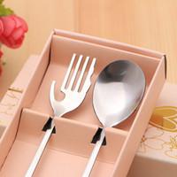 ingrosso favori di nozze forchetta cucchiaio-50 set acciaio inox amanti cucchiaio e forchette set per bomboniere e regali festa di compleanno omaggi baby shower regali lin2936