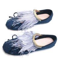 rosa balinetes de cetim venda por atacado-Azul Denim Strass Feather Fringe Ballet Shoes 2018 Novo Estilo Redondo Toe Rosa Cetim Bowknot Flat Mulheres Sapatos