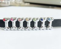 Wholesale dog collars bracelets for sale - Group buy 10PCs Mixed color Rhinestone MM Dog Bone Slide Charms Beads DIY Accessories Fit mm Pet Collar Belts Bracelets
