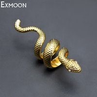 длинное кольцо серебряные украшения оптовых-EX-MOON Men&Women Silver/Gold Color Snake Ring Hiphop Jewelry Top Quality Crystal Animal Long Snake Finger Ring Party Jewelry