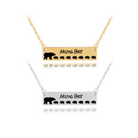 Wholesale polar bear birthday online - Inspired Silver Plated Bar Necklace Polar Mama Bear Babys Bear Necklace Gifts for Mom Wife Mother s Day Gift Birthday Remembrance Option