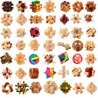 kong ming puzzle al por mayor-IQ Brain Teaser Kong Ming luban Bloqueo 3D Juguete de madera Enclavamiento Juego de puzzles Juego de juguetes para adultos Juguetes para niños Regalos de Navidad Juguetes de novedad