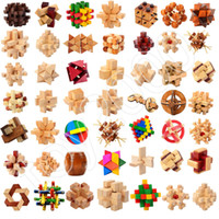 Wholesale wood brain teaser games online - IQ Brain Teaser Kong Ming luban Lock D Wooden toy Interlocking Burr Puzzles Game Toy For Adults Kids toys christmas gifts novelty toys