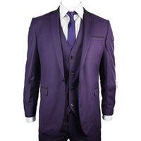 dreiteilige anzug lila weste großhandel-Purple Formale Männer Anzüge Drei Stück Jacke Hosen Weste Nach Maß Eine Taste Hochzeit Bräutigam Smoking 2018 Besten Männer Anzug