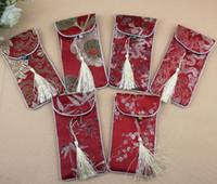 cep telefonu ipek kılıfı toptan satış-16.5x9 cm Ipek Cep Telefonu Kapak Cep Çanta Case Kılıfı Çin geleneksel hediye çantası karışık renk
