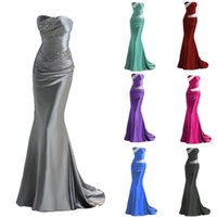 Wholesale pink short strapless prom dresses - Beading Strapless Lace Up Mermaid Bridesmaid Dresses 2018 Cheap Long Maid of Honor Evening Prom Gowns