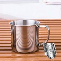 kahve pikniği toptan satış-250 Ml Paslanmaz Çelik Kahve Fincanı Açık Kamp Su Çay Kupa Seyahat Kupa Kolu ile Ev Ofis Piknik Yürüyüş Kupaları OOA5819
