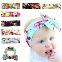 Wholesale Infant Girl Hair Bows - Naturalwell Baby Infant Girls Flower Print Headbands Children Cute Rabbit Ear Headwraps Baby Bow kont hair Accessories HB021