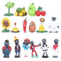 zombi oyunları toptan satış-Oyun Bitkiler vs Zombies Aksiyon Figürleri Oyuncaklar karikatür Dekorasyon modeli çocuklar için Noel Cadılar Bayramı hediye 16 stilleri / set C5077