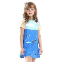Wholesale Cute Clothes For Kids - Baby Girl Printed Summer Dress Flowers Party Dress Short Sleeve Cotton Cute Kids Princess Dress for Baby Children Clothing