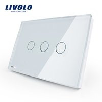 Wholesale livolo crystal glass switch panel for sale - Group buy Livolo US standard Wall Touch Screen Control Switch gang way AC V White Crystal Glass Panel VL C303