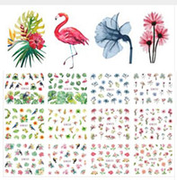 12pcs Designs Water Nail Decals Sticker Summer Jungle Flamingo Parrot Flora Watermark Nail Decoration Wraps Manicure