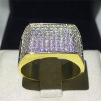 Wholesale rock band set - Vecalon Punk Hiphop Rock ring for men Pave setting 119pcs AAAAA Zircon cz Yellow Gold Filled 925 silver male Party Band rings
