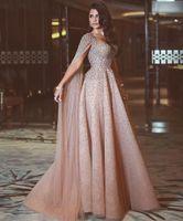 ingrosso vestito dalla sirena gialla fessura-Luxury Blush Pink A Line Prom Dresses Cinghie per spaghetti Cristalli in rilievo Applique floreale Wateau Train Strass Abiti da sera formale