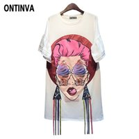 Wholesale long tunic sequin xl - Oversized Cartoon Graphic Tees Sequin Tshirts Long Tunic Tops for Women Casual Summer 2018 Camisetas Mujer Vogue Korean Clothes