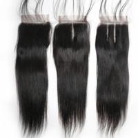 i̇sviçre danteli üst kapatma toptan satış-XBL Saç Brezilyalı Düz Saç Dantel Kapatma Ücretsiz / Orta / Üç Parçalı Remy İnsan Saç 4x4 inç İsviçre Dantel Üst Kapatma