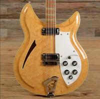 diapasón de guitarra con incrustaciones al por mayor-RIC personalizado 12 cuerdas 381-12 V69 Maple glo 1989 Cuerpo semi hueco Guitarra eléctrica natural Triángulo amarillo MOP Incrustación de diapasón, cuello sándwich
