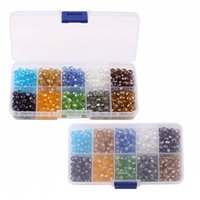 Wholesale 6mm Round Glass Beads Wholesale - Crystal Glass Beads With Hole 10 Colors 6mm Beads Spacer Beads Plastic Box Set DIY Jewelry Making Free DHL D847L