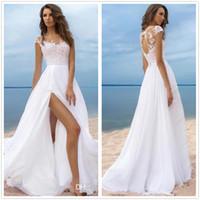 Wholesale Bohemia Shirt - 2018 Bohemia Sheer Cap Sleeves Chiffon Summer Beach A Line Wedding Dresses Tulle Lace Applique Split Wedding Bridal Gowns