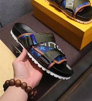 Wholesale Sandal Outsole - NEWEST ! Branded Men Canvas Strap Reflective Textile Honolulu Mule Slipper Designer Scuffs Mix Patchwork Micro Outsole Slide Sandal