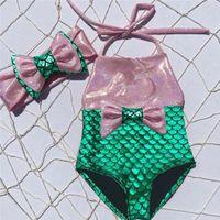 Wholesale fancy swimwear for sale - Group buy Fashion girls kids mermaid fancy bow sequins swimmable bikini set swimwear swimsuit baby girls bathing suit