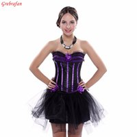 Wholesale white striped corset - Ladies Evening Clubbing Stripe Corset Ruffle Trim Hen Padded Cup Bustier with Skirt Free shipping