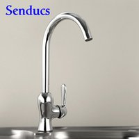 Wholesale ceramics sanitary ware - Free shipping High quality brass kitchen faucet with polished chrome copper kitchen sink faucet from senducs sanitary ware