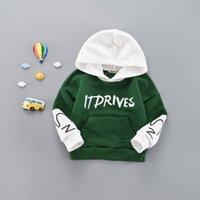 bebek çocukları boş zamanları toptan satış-2018 Sonbahar Kış Moda Bebek Giysileri Toddler Erkek Kız Pamuk Eğlence Kapüşonlu Tişörtü Bebek Mektup Bluz Hoodies Tops