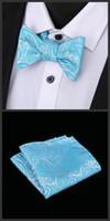 pajarita de terciopelo azul real al por mayor-Pajaritas azules reales con pañuelo a juego Pañuelo único para hombre con terciopelo Bowtie Corbata de moño Corbata Set de corbata Set de pajarita