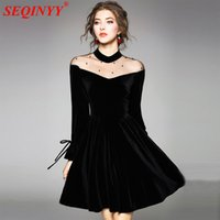 Wholesale Mesh Hem Dress - Sexy Perspective Velvet Dress 2018 Spring High End Long Flare Sleeve Bows Stand Collar Mesh Beading Big Hems Women Mini Dresses