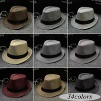 соломенные федоры для мужчин оптовых-Новый Vogue Мужчины Женщины хлопок / лен соломенные шляпы мягкие Fedora Панама шляпы открытый скупой Brim шапки над 34Colors выбрать свободный корабль