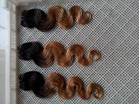 12 inç ombre saç uzantıları toptan satış-Brazilan Ombre T1 / 27 Bakire Saç Uzantıları 10-30 Inç Vücut Dalga Saç Uzantıları% 100% İnsan Saç Dokuma