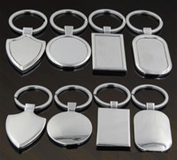 Wholesale blank key tags resale online - Metal Blank Tag keychain Creative Car Keychain Personalized Stainless Steel Key Ring Business Advertising For Promotion