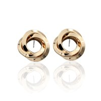 Wholesale good gifts for girls for sale - 18K gold color good quality keep gold color longer fashion trendy classic round circle twisted stud earrings for women girls gifts dhce024
