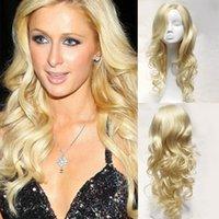 natürliche perruque lange haare großhandel-20 Zoll Frauenart und weise natürliche wellenförmige lange blonde Haar-Perücken für Frauen preiswerte synthetische Perruque Cosplay Perücke des Haares