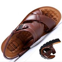 новые длинные туфли оптовых-Долгосрочные непрерывные поставки товаров классические летние новые мужчины натуральная кожа сандалии большой размер 37-44 мужчины сандалии тапочки пляжная обувь 2018