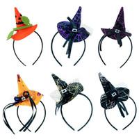 komik süslü kıyafet kostümleri toptan satış-Komik Cadı Şapka Tasarımcı Kafa Bandı Cadılar Bayramı Partisi Dekorasyon Saç Hoop Çocuk Çocuklar Fantezi Elbise Kostüm Headdress Moda 3 k ...